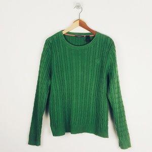 Liz Claiborne Green Cable Knit 100% Cotton Sweater